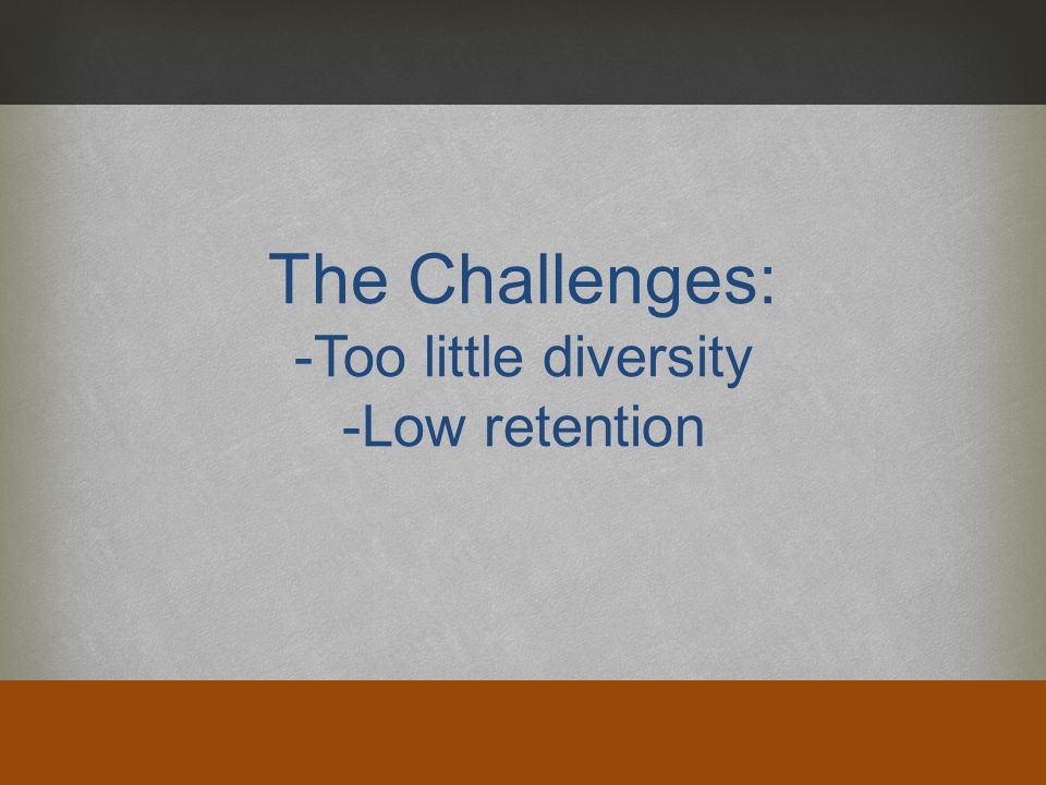 The Challenges: -Too little diversity -Low retention