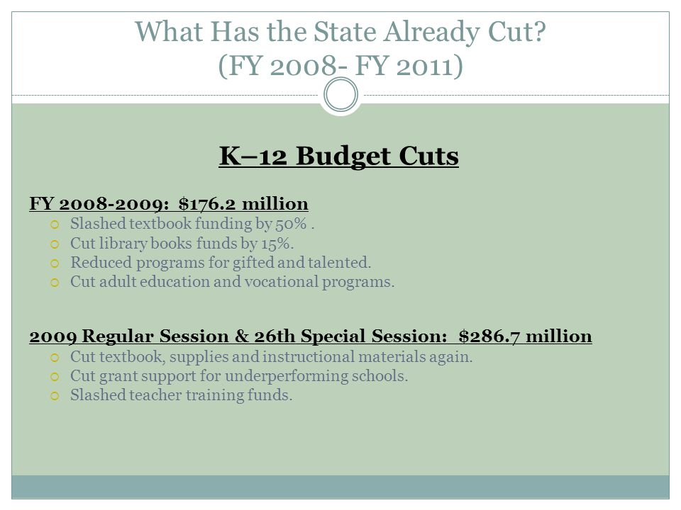 What Has the State Already Cut.