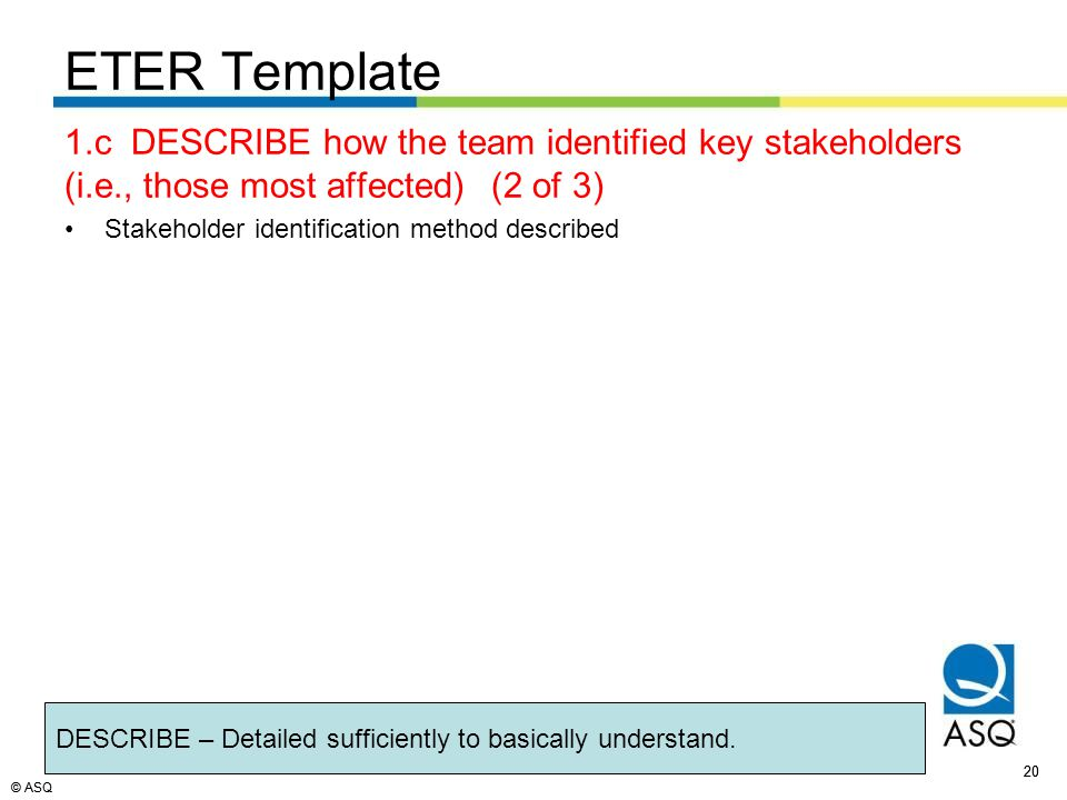 © ASQ 20 © ASQ ETER Template 1.c DESCRIBE how the team identified key stakeholders (i.e., those most affected)(2 of 3) Stakeholder identification method described 20 DESCRIBE – Detailed sufficiently to basically understand.