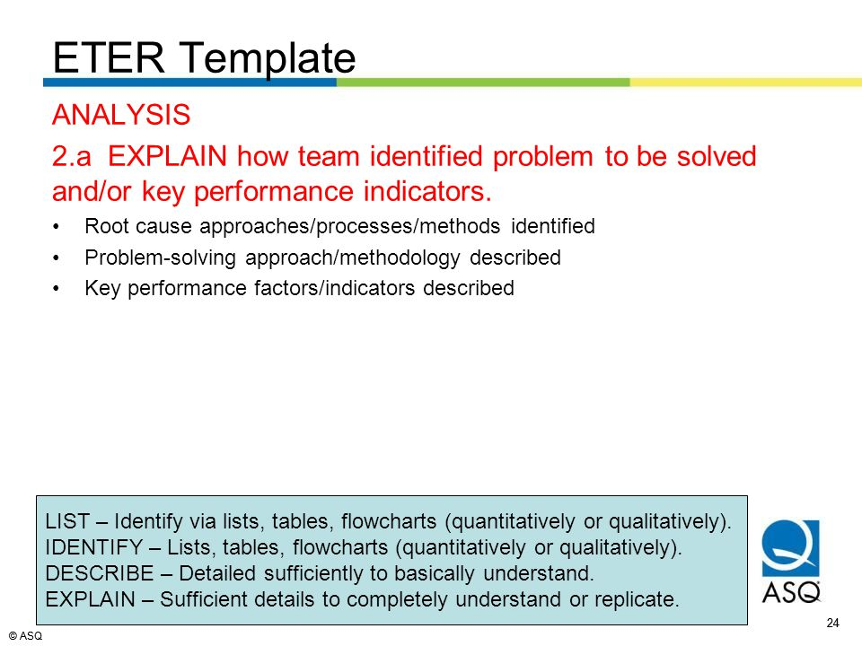 © ASQ 24 © ASQ ANALYSIS 2.a EXPLAIN how team identified problem to be solved and/or key performance indicators.
