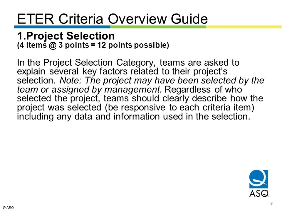 © ASQ 77 EDUCATION TEAM EXCELLENCE RECOGNITION (ETER) PROCESS GLOSSARY