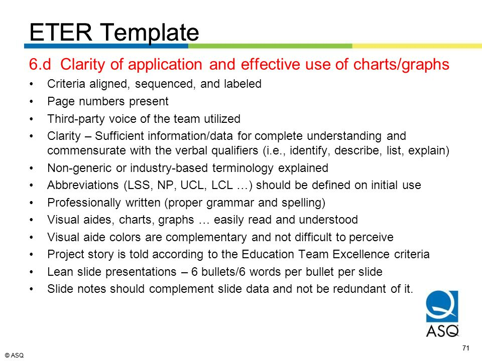 © ASQ 71 © ASQ ETER Template 6.d Clarity of application and effective use of charts/graphs Criteria aligned, sequenced, and labeled Page numbers present Third-party voice of the team utilized Clarity – Sufficient information/data for complete understanding and commensurate with the verbal qualifiers (i.e., identify, describe, list, explain) Non-generic or industry-based terminology explained Abbreviations (LSS, NP, UCL, LCL …) should be defined on initial use Professionally written (proper grammar and spelling) Visual aides, charts, graphs … easily read and understood Visual aide colors are complementary and not difficult to perceive Project story is told according to the Education Team Excellence criteria Lean slide presentations – 6 bullets/6 words per bullet per slide Slide notes should complement slide data and not be redundant of it.