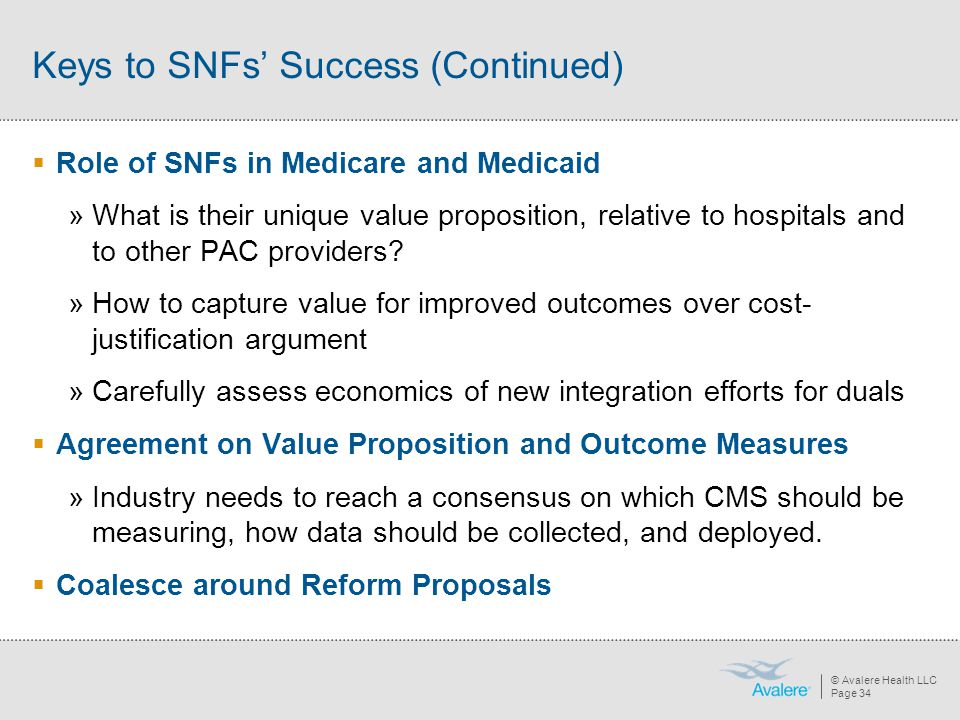 © Avalere Health LLC Page 34 Keys to SNFs' Success (Continued)  Role of SNFs in Medicare and Medicaid »What is their unique value proposition, relati