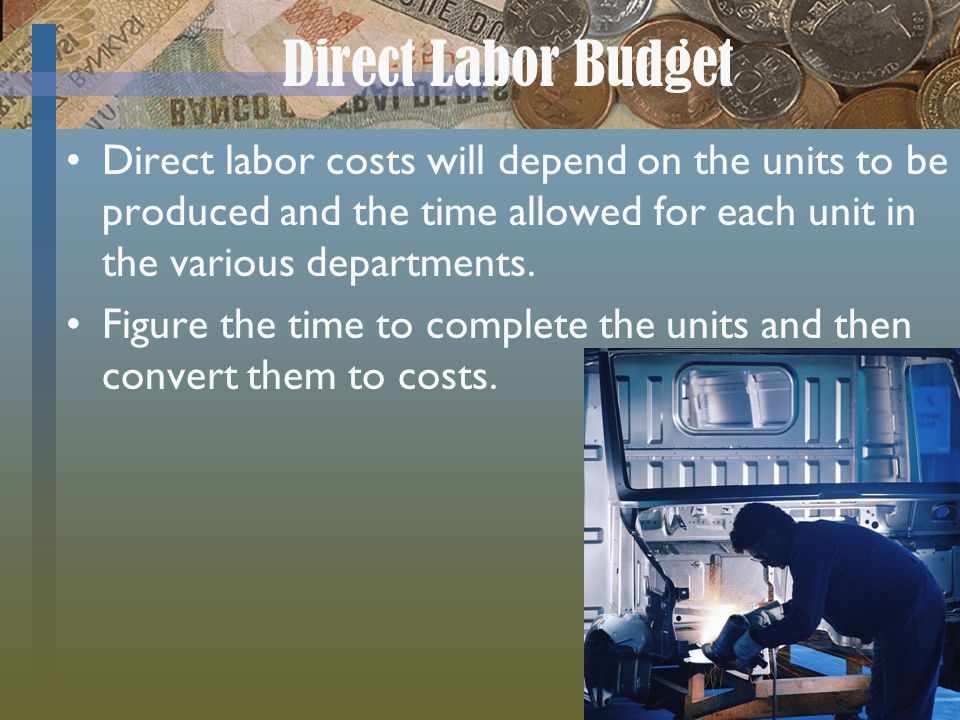 Direct Labor Budget Direct labor costs will depend on the units to be produced and the time allowed for each unit in the various departments. Figure t