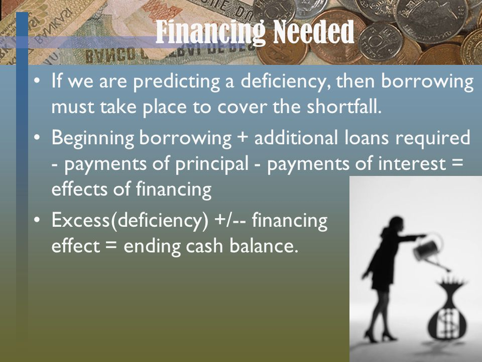 Financing Needed If we are predicting a deficiency, then borrowing must take place to cover the shortfall. Beginning borrowing + additional loans requ