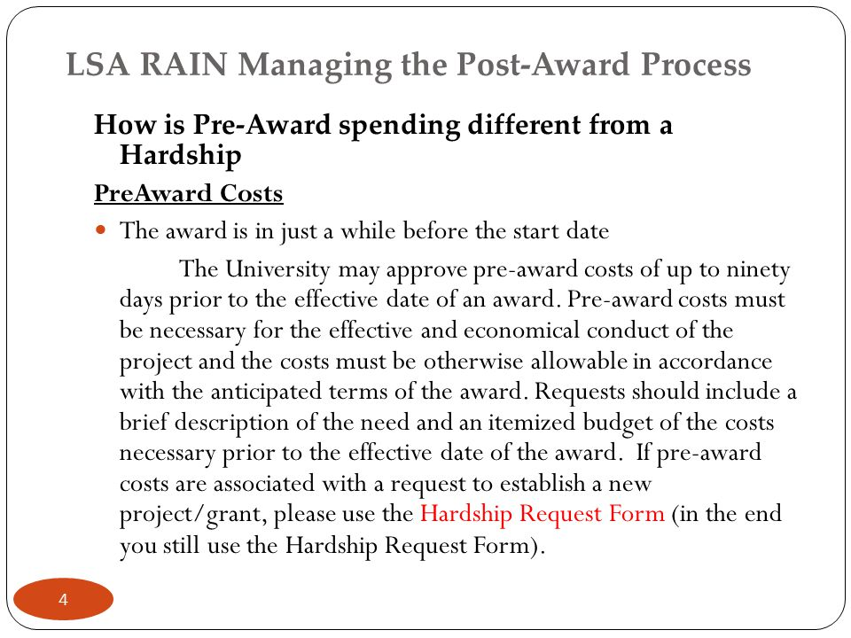 LSA RAIN-Managing the Post-Award Process Managing the Project Grant Put Expenses where they belong (no parking— follow the 7471's categories) Fix Cost Sharing changes on 7471 too.