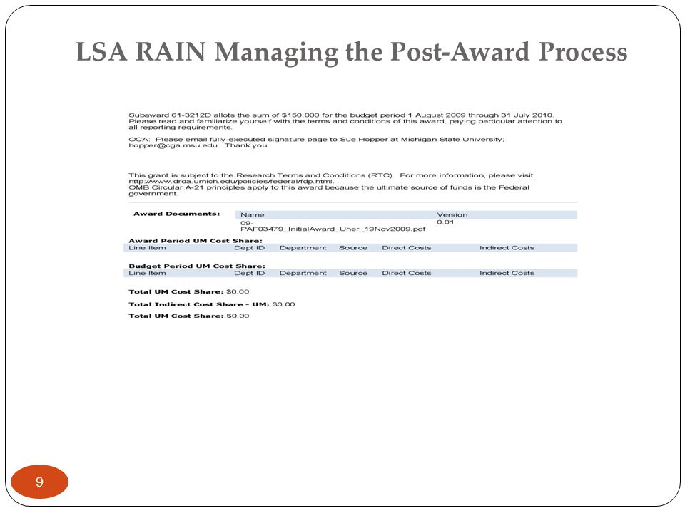 LSA RAIN Managing the Post-Award Process Spending the funds: UM Funds (eGIF) Cost Sharing – project grants management When should you move the funds.
