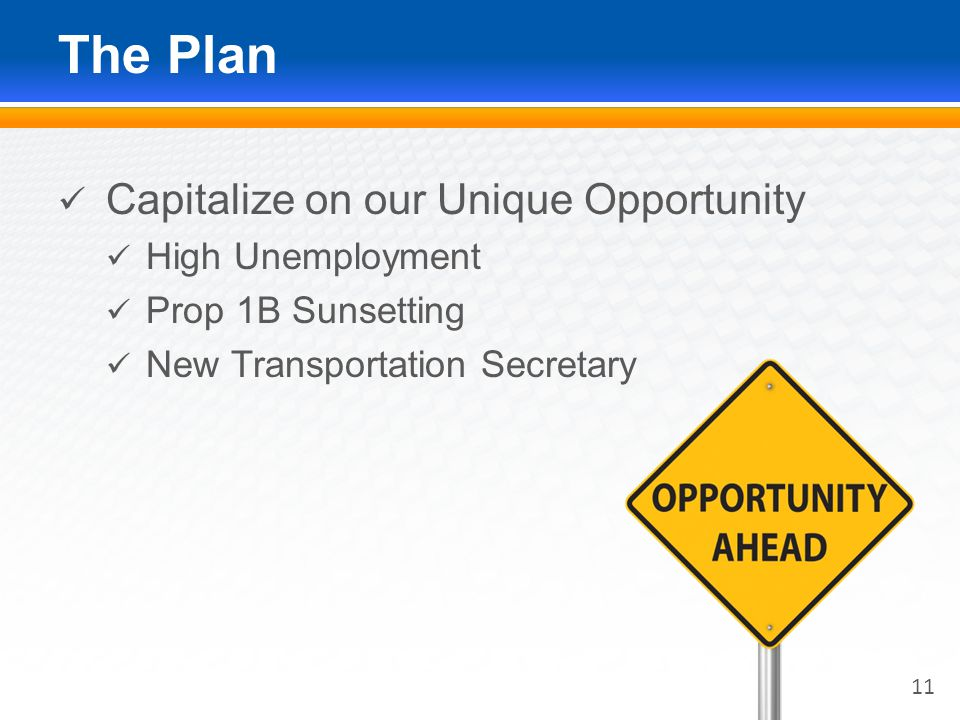 The Plan Capitalize on our Unique Opportunity High Unemployment Prop 1B Sunsetting New Transportation Secretary 11