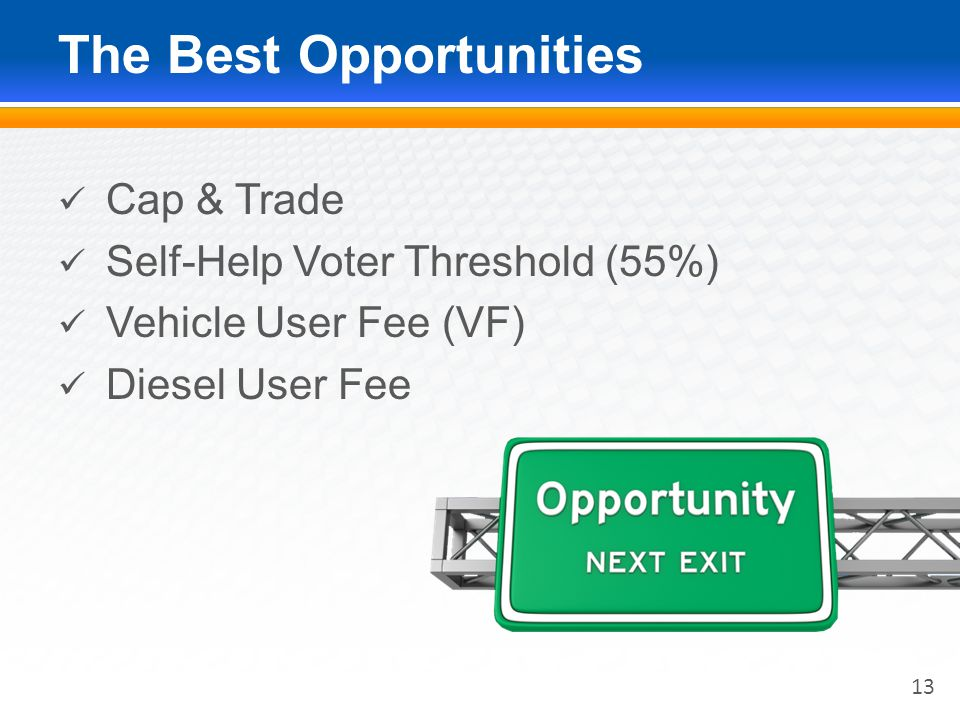 The Best Opportunities Cap & Trade Self-Help Voter Threshold (55%) Vehicle User Fee (VF) Diesel User Fee 13