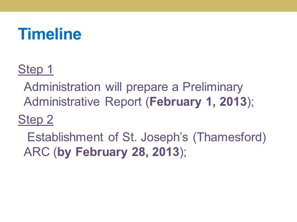 Timeline Step 1 Administration will prepare a Preliminary Administrative Report (February 1, 2013); Step 2 Establishment of St. Joseph's (Thamesford)