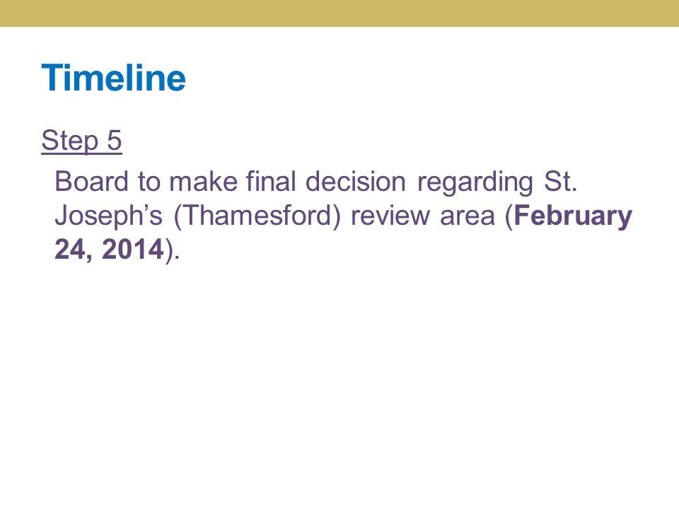 Timeline Step 5 Board to make final decision regarding St. Joseph's (Thamesford) review area (February 24, 2014).