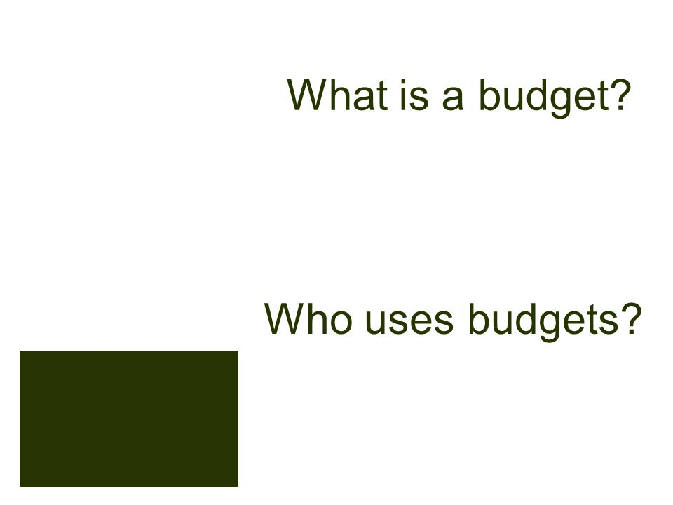 What is a budget Who uses budgets