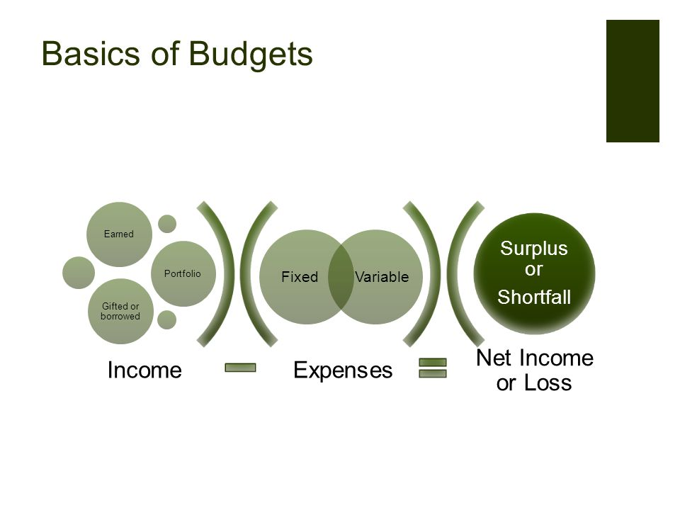 Basics of Budgets Expenses Net Income or Loss FixedVariable EarnedPortfolio Gifted or borrowed Surplus or Shortfall Income