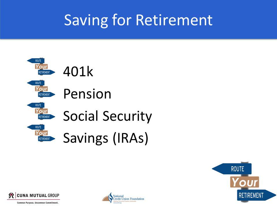 Saving for Retirement 401k Pension Social Security Savings (IRAs)
