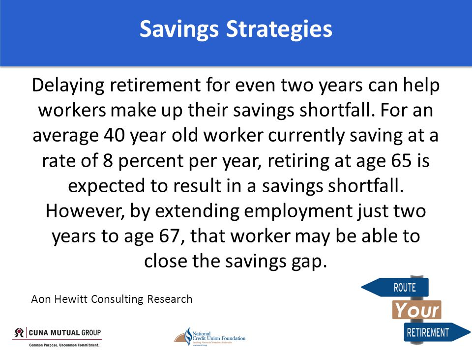 Delaying retirement for even two years can help workers make up their savings shortfall.
