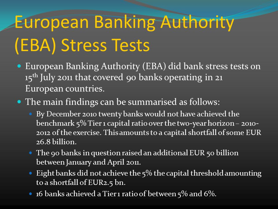 European Banking Authority (EBA) Stress Tests European Banking Authority (EBA) did bank stress tests on 15 th July 2011 that covered 90 banks operating in 21 European countries.