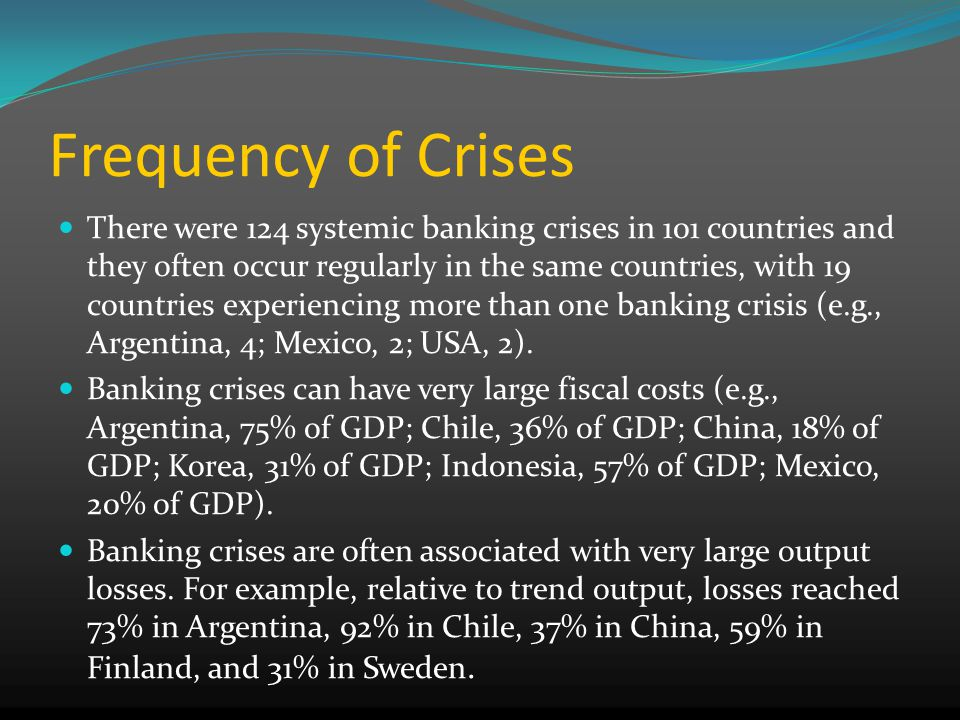 Frequency of Crises There were 124 systemic banking crises in 101 countries and they often occur regularly in the same countries, with 19 countries experiencing more than one banking crisis (e.g., Argentina, 4; Mexico, 2; USA, 2).