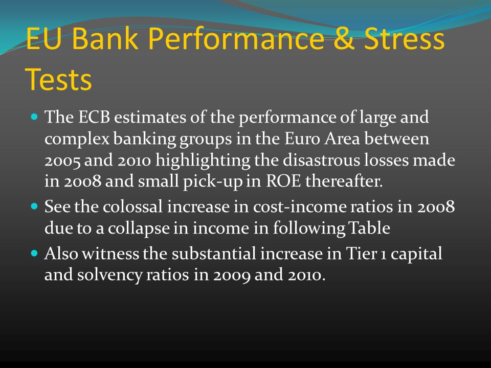 EU Bank Performance & Stress Tests The ECB estimates of the performance of large and complex banking groups in the Euro Area between 2005 and 2010 highlighting the disastrous losses made in 2008 and small pick-up in ROE thereafter.