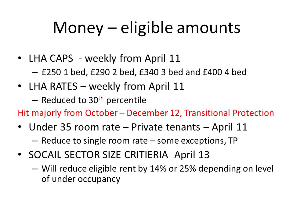 Money-Eligible Amounts Advice Transitional Protection – Need to be aware of any transitional arrangements announced and change of circumstances Negotiate with landlord Move – See later why this may not be advisable Discretionary Housing Payments – Limited pot – with new levels of demand which it has not been designed for – e.g.