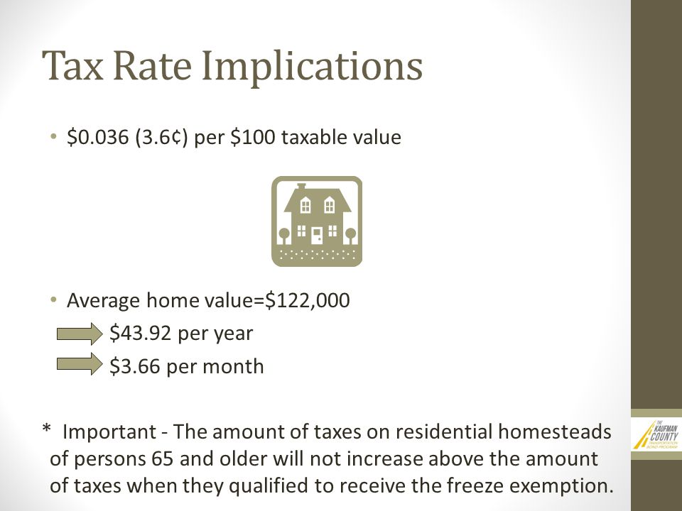 Tax Rate Implications $0.036 (3.6¢) per $100 taxable value Average home value=$122,000 $43.92 per year $3.66 per month * Important - The amount of taxes on residential homesteads of persons 65 and older will not increase above the amount of taxes when they qualified to receive the freeze exemption.