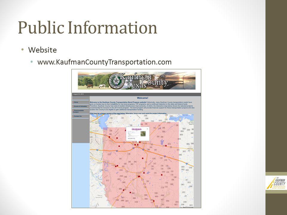 Public Information Website www.KaufmanCountyTransportation.com