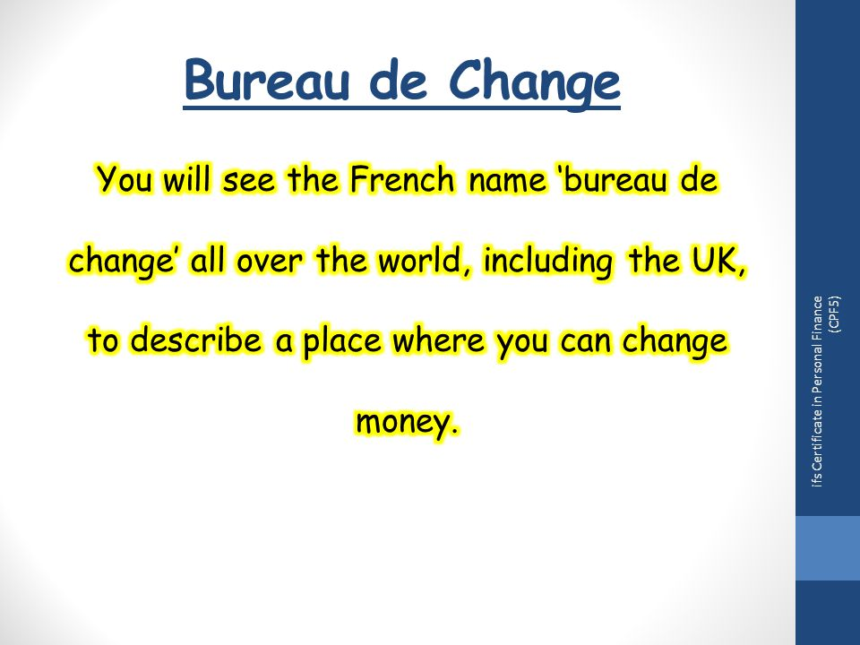 Bureau de Change ifs Certificate in Personal Finance (CPF5)