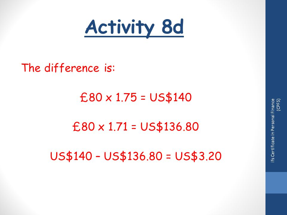 Activity 8d ifs Certificate in Personal Finance (CPF5) The difference is: £80 x 1.75 = US$140 £80 x 1.71 = US$136.80 US$140 – US$136.80 = US$3.20