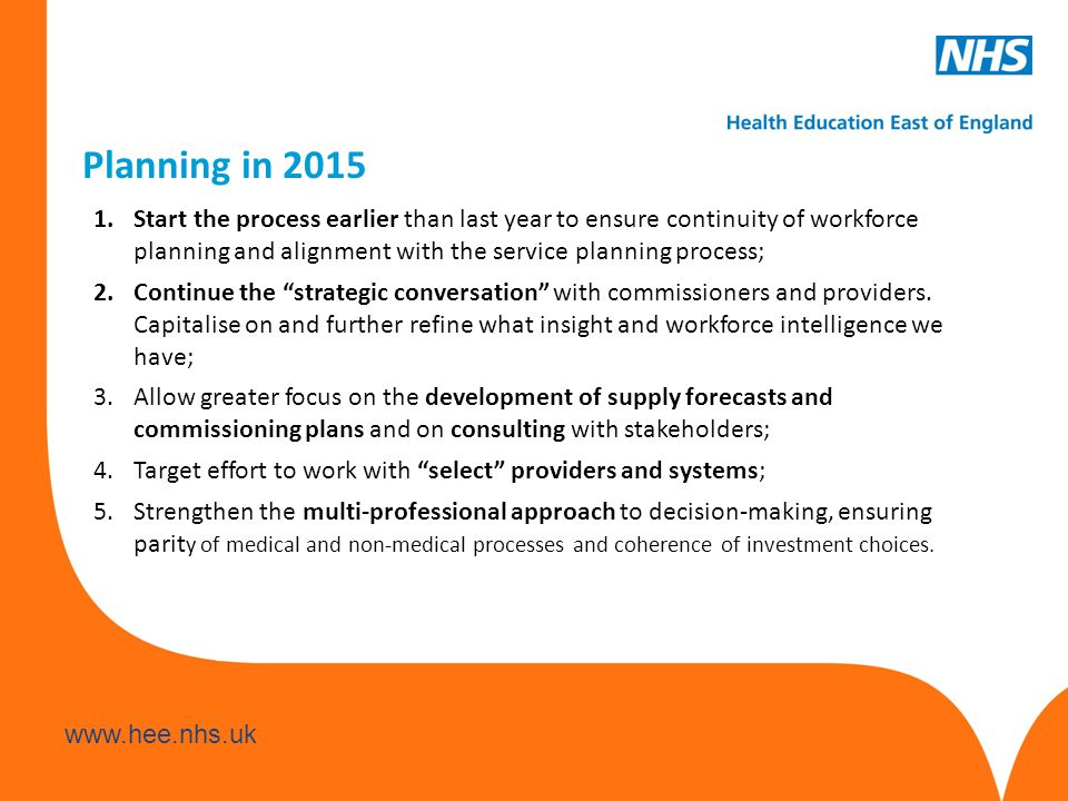 www.hee.nhs.uk Planning in 2015 1.Start the process earlier than last year to ensure continuity of workforce planning and alignment with the service planning process; 2.Continue the strategic conversation with commissioners and providers.