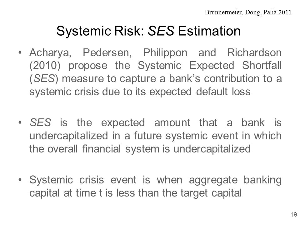 Brunnermeier, Dong, Palia 2011 Systemic Risk: SES Estimation Acharya, Pedersen, Philippon and Richardson (2010) propose the Systemic Expected Shortfall (SES) measure to capture a bank's contribution to a systemic crisis due to its expected default loss SES is the expected amount that a bank is undercapitalized in a future systemic event in which the overall financial system is undercapitalized Systemic crisis event is when aggregate banking capital at time t is less than the target capital 19