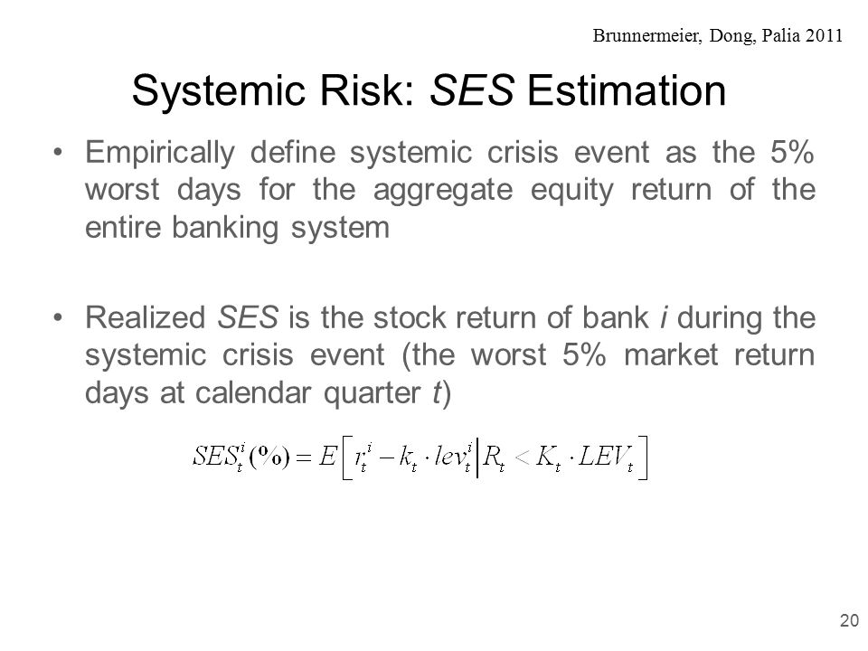Brunnermeier, Dong, Palia 2011 Systemic Risk: SES Estimation Empirically define systemic crisis event as the 5% worst days for the aggregate equity return of the entire banking system Realized SES is the stock return of bank i during the systemic crisis event (the worst 5% market return days at calendar quarter t) 20