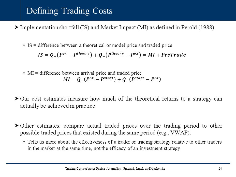 Defining Trading Costs 24 Trading Costs of Asset Pricing Anomalies - Frazzini, Israel, and Moskowitz
