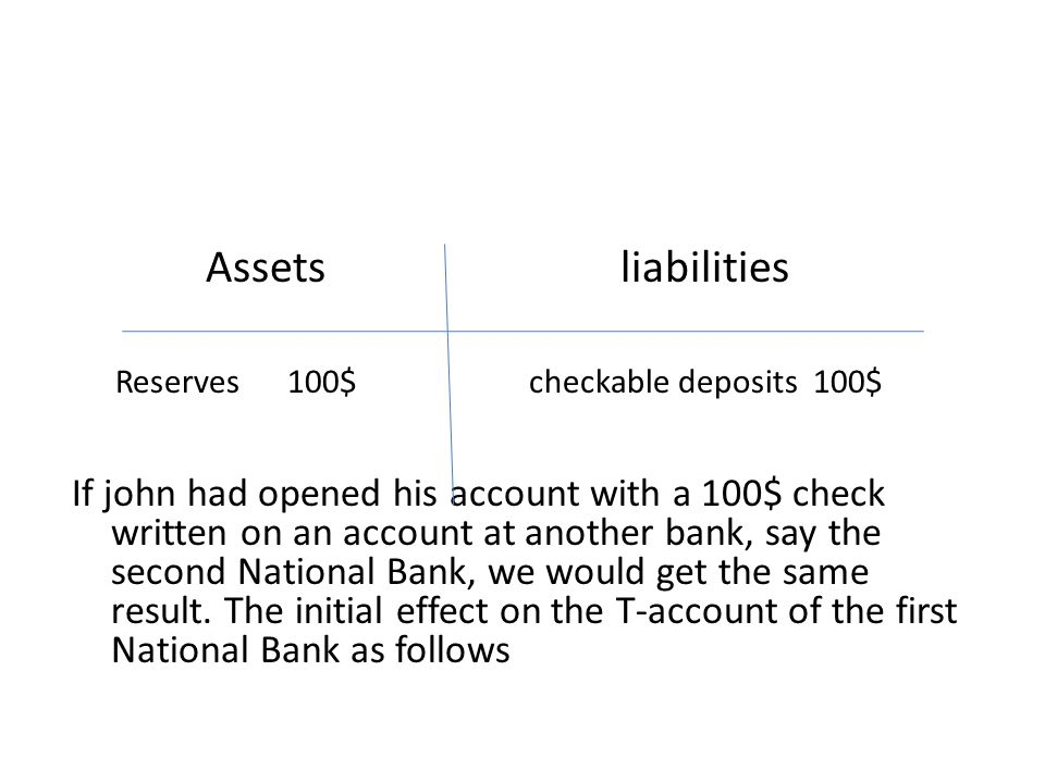 Assets liabilities Reserves 100$ checkable deposits 100$ If john had opened his account with a 100$ check written on an account at another bank, say t