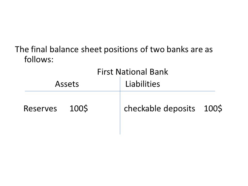 The final balance sheet positions of two banks are as follows: First National Bank Assets Liabilities Reserves 100$ checkable deposits 100$