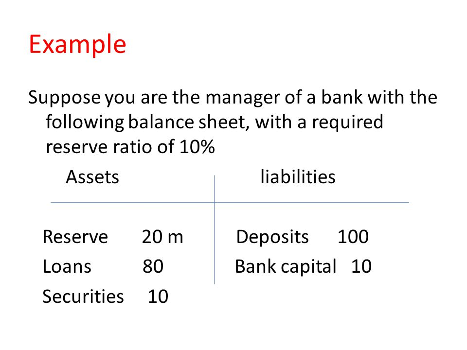 Example Suppose you are the manager of a bank with the following balance sheet, with a required reserve ratio of 10% Assets liabilities Reserve 20 m D