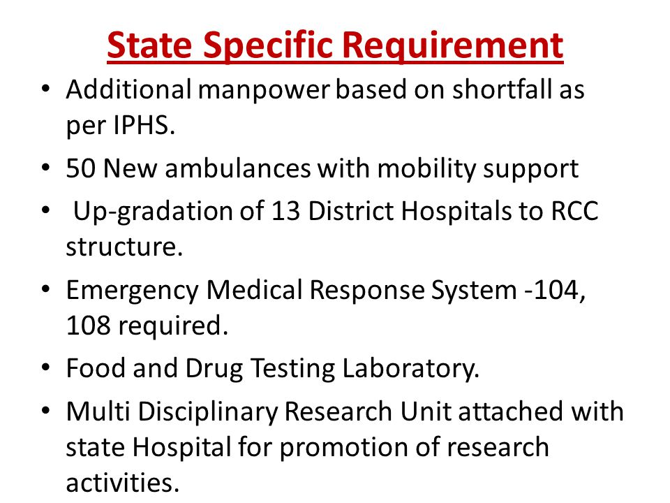 State Specific Requirement Additional manpower based on shortfall as per IPHS.