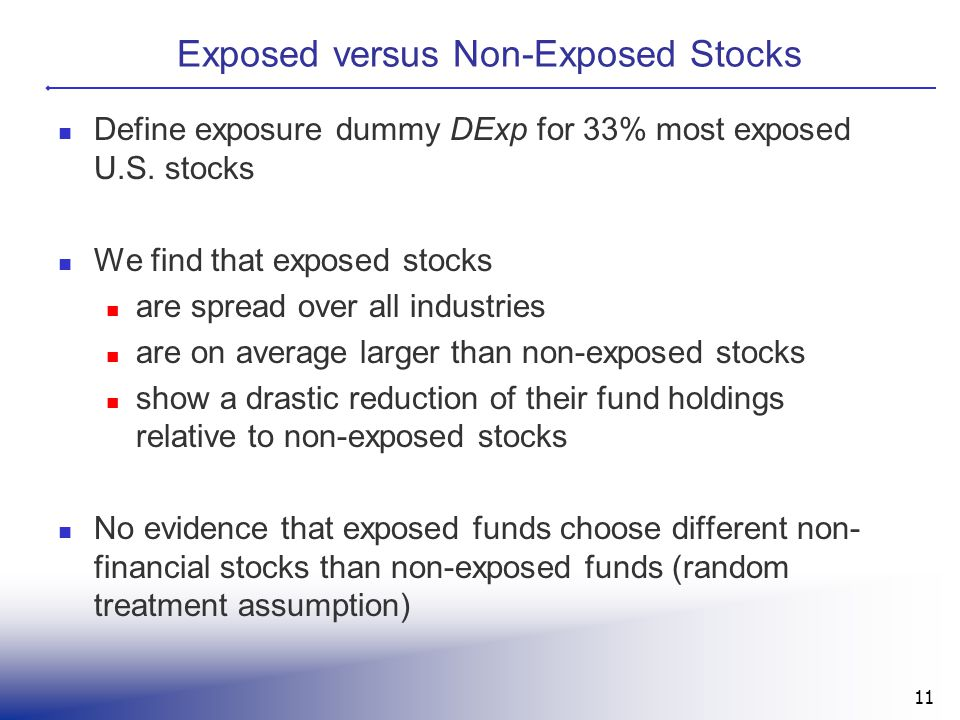 Exposed versus Non-Exposed Stocks Define exposure dummy DExp for 33% most exposed U.S. stocks We find that exposed stocks are spread over all industri