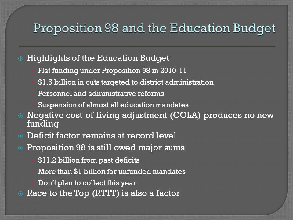  Highlights of the Education Budget Flat funding under Proposition 98 in 2010-11 $1.5 billion in cuts targeted to district administration Personnel a