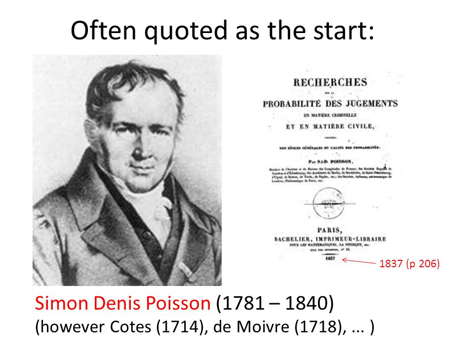 Often quoted as the start: Simon Denis Poisson (1781 – 1840) (however Cotes (1714), de Moivre (1718),... ) 1837 (p 206)