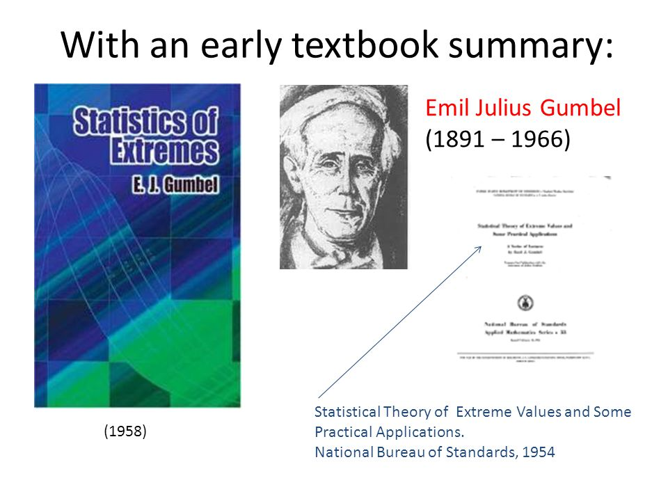 With an early textbook summary: (1958) Emil Julius Gumbel (1891 – 1966) Statistical Theory of Extreme Values and Some Practical Applications. National