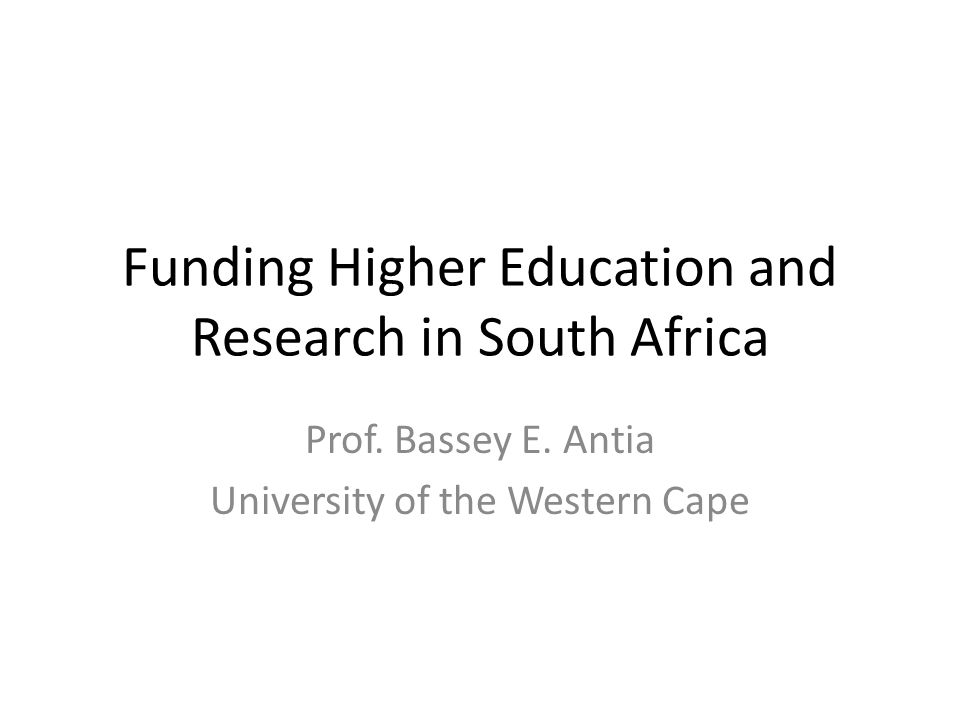 Outline Chapter one: Introduction – contextualising research productivity: – Africa within the world – South Africa within Africa Chapter two: Funding of higher education in South Africa Chapter three: Funding and the broader research landscape in South Africa Chapter four: Conclusion – Assessment – What is innovative and what are the lessons?