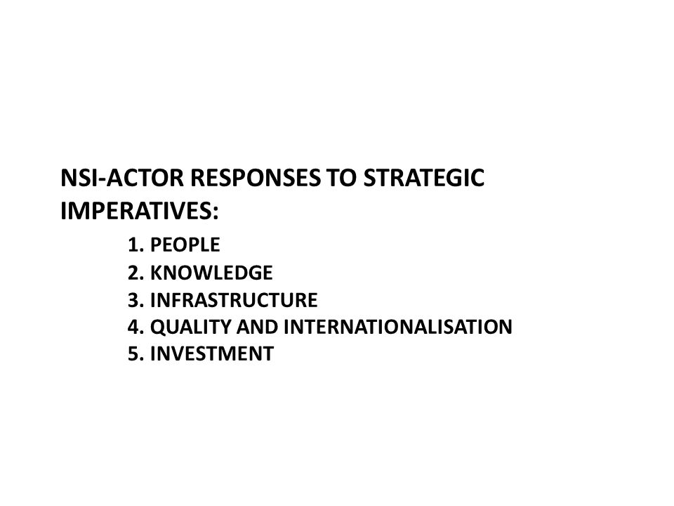 NSI-ACTOR RESPONSES TO STRATEGIC IMPERATIVES: 1. PEOPLE 2.