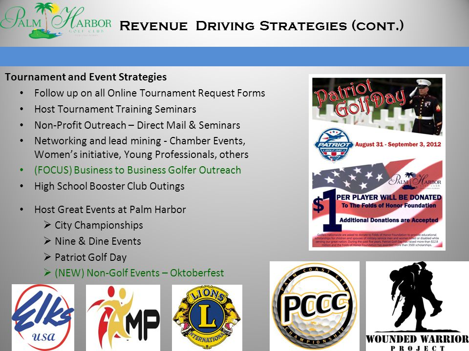 Tournament and Event Strategies Follow up on all Online Tournament Request Forms Host Tournament Training Seminars Non-Profit Outreach – Direct Mail &