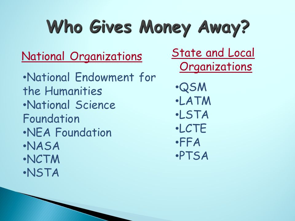 National Organizations State and Local Organizations National Endowment for the Humanities National Science Foundation NEA Foundation NASA NCTM NSTA QSM LATM LSTA LCTE FFA PTSA