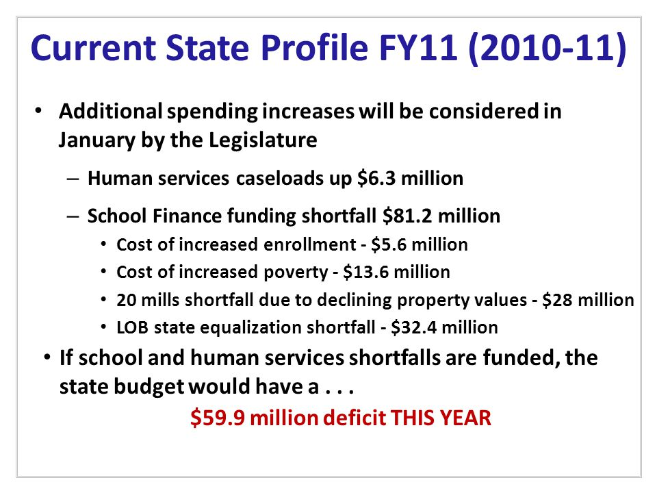 Current State Profile FY11 (2010-11) Additional spending increases will be considered in January by the Legislature – Human services caseloads up $6.3 million – School Finance funding shortfall $81.2 million Cost of increased enrollment - $5.6 million Cost of increased poverty - $13.6 million 20 mills shortfall due to declining property values - $28 million LOB state equalization shortfall - $32.4 million If school and human services shortfalls are funded, the state budget would have a...