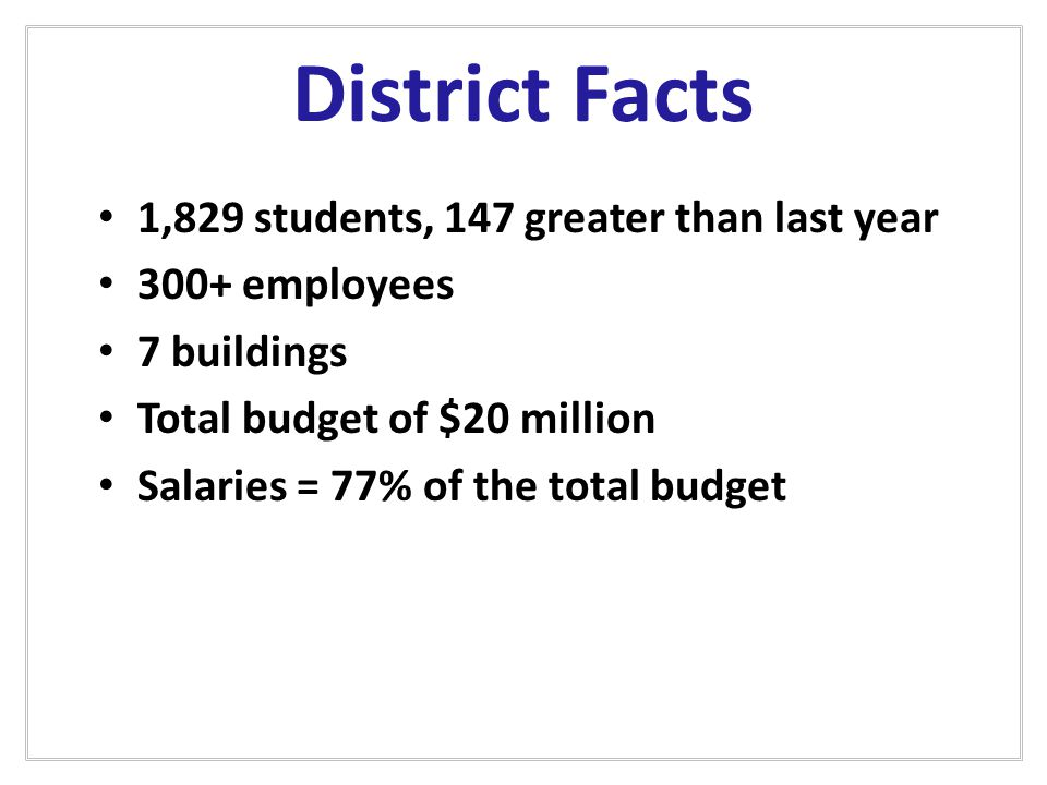 Revenues - Where We Get Our Funds State – 43.3% $7.7 million Local – 52.4.% $9.3 million Federal – 4.3% $748,252