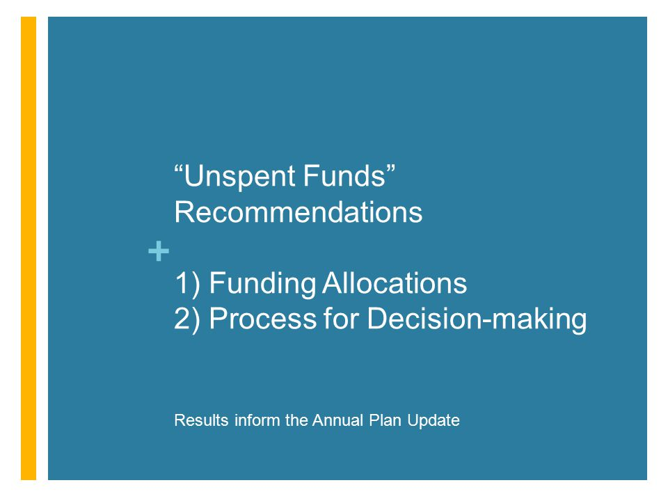 + Unspent Funds Recommendations 1) Funding Allocations 2) Process for Decision-making Results inform the Annual Plan Update