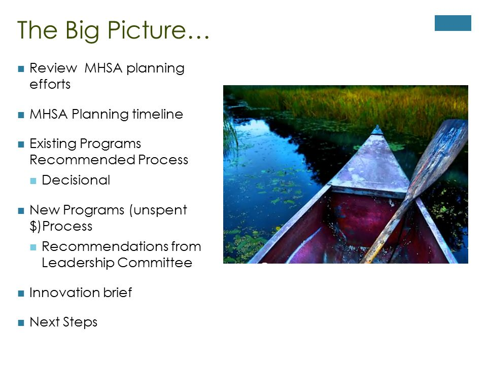The Big Picture… Review MHSA planning efforts MHSA Planning timeline Existing Programs Recommended Process Decisional New Programs (unspent $)Process Recommendations from Leadership Committee Innovation brief Next Steps