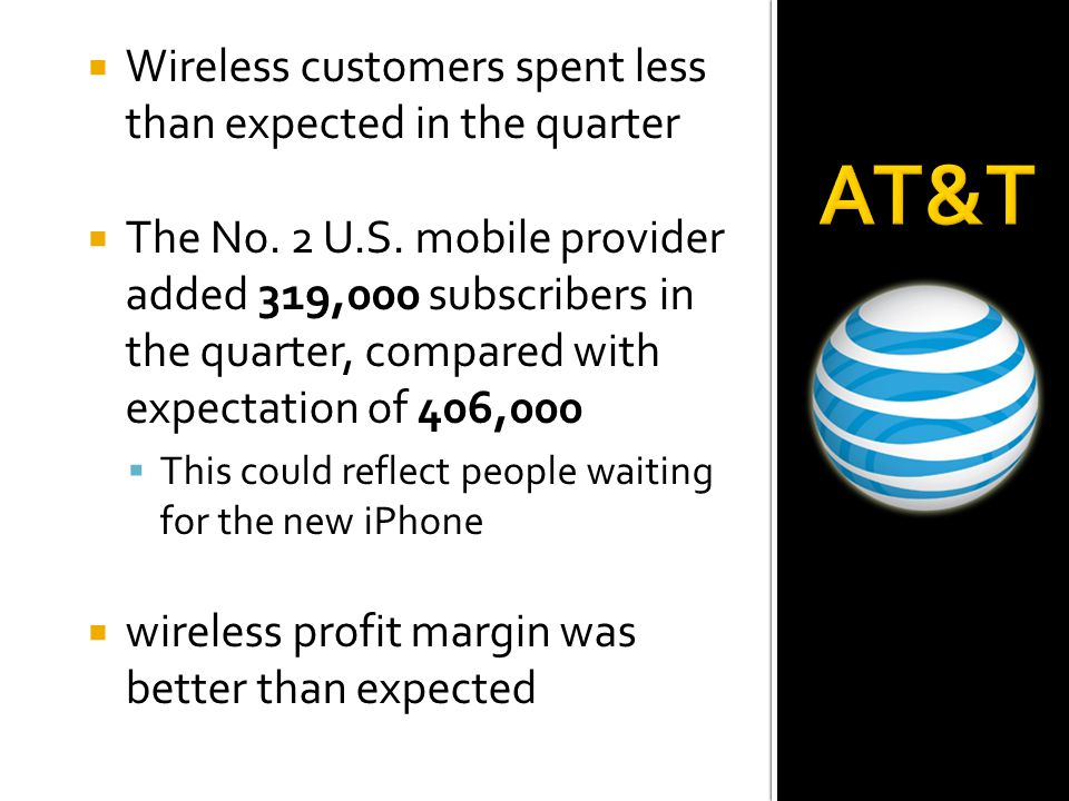  Wireless customers spent lessthan expected in the quarter  The No. 2 U.S. mobile provideradded 319,000 subscribers in the quarter, compared withexp