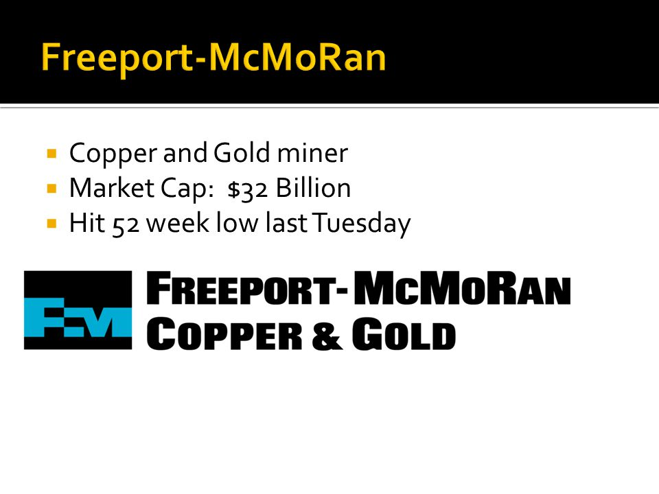  Copper and Gold miner  Market Cap: $32 Billion  Hit 52 week low last Tuesday