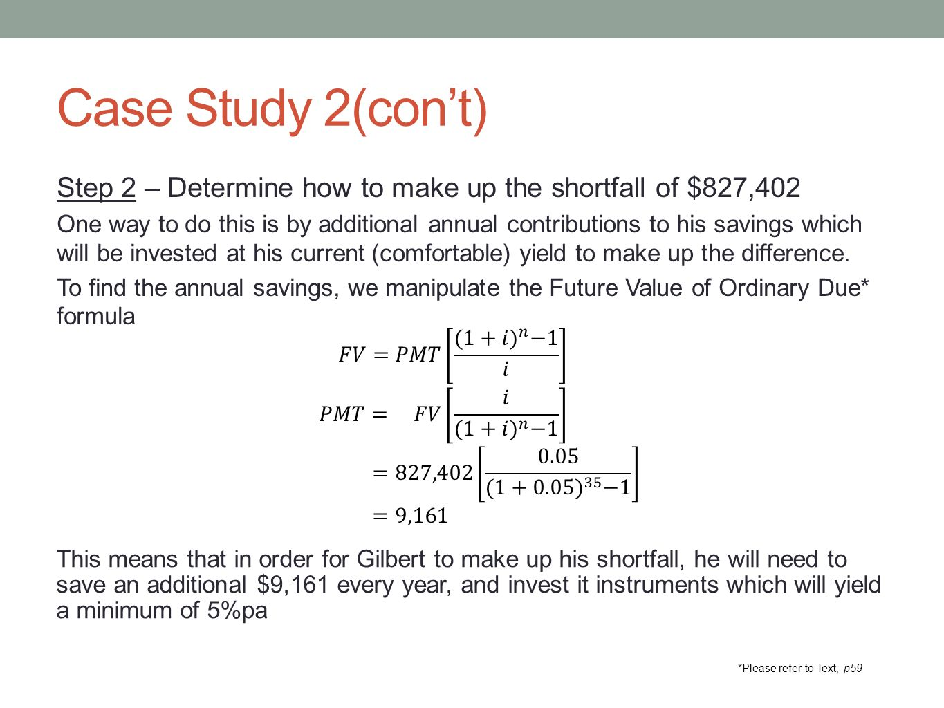 Case Study 2(con't) Step 2 – Determine how to make up the shortfall of $827,402 One way to do this is by additional annual contributions to his saving